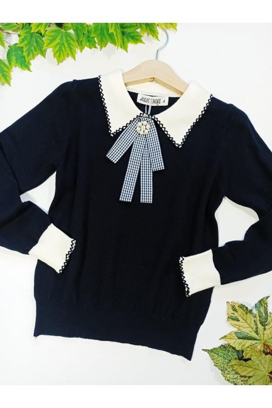 Sweterek dla dziewczynki z broszką elegancki czarny kolnierzy witaj szkoło sówka odzież dziecięca