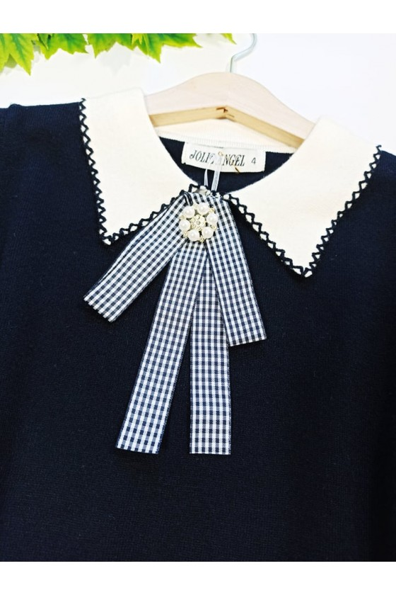 Sweterek dla dziewczynki z broszką Amy czarny