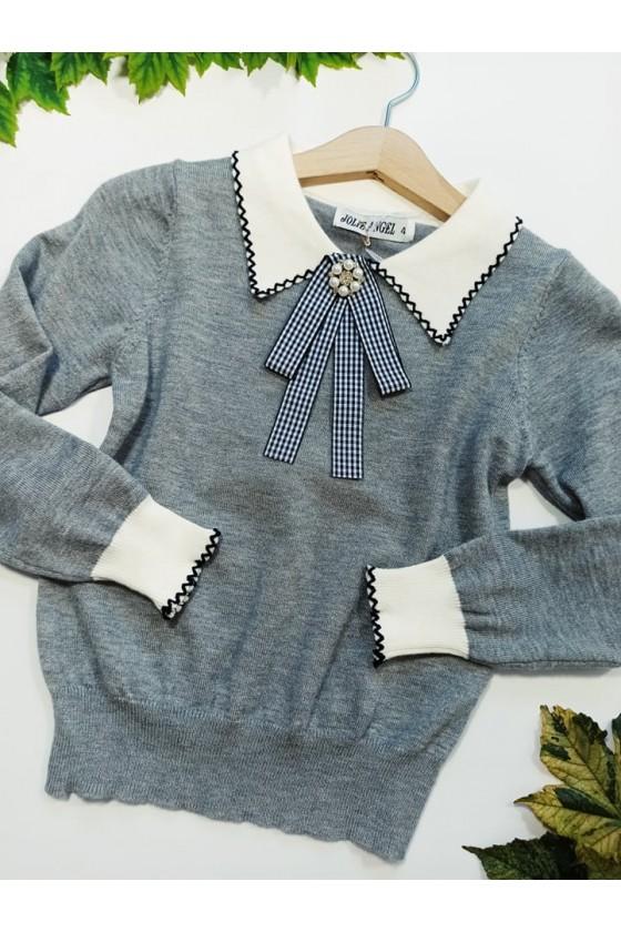 Sweterek dla dziewczynki z broszką elegancki  kołnierzyk witaj szkoło odzież dziecięca sówka jesień