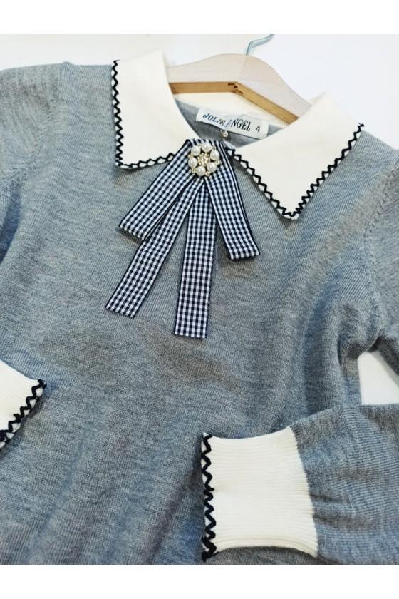 Sweterek dla dziewczynki z broszką Amy szary