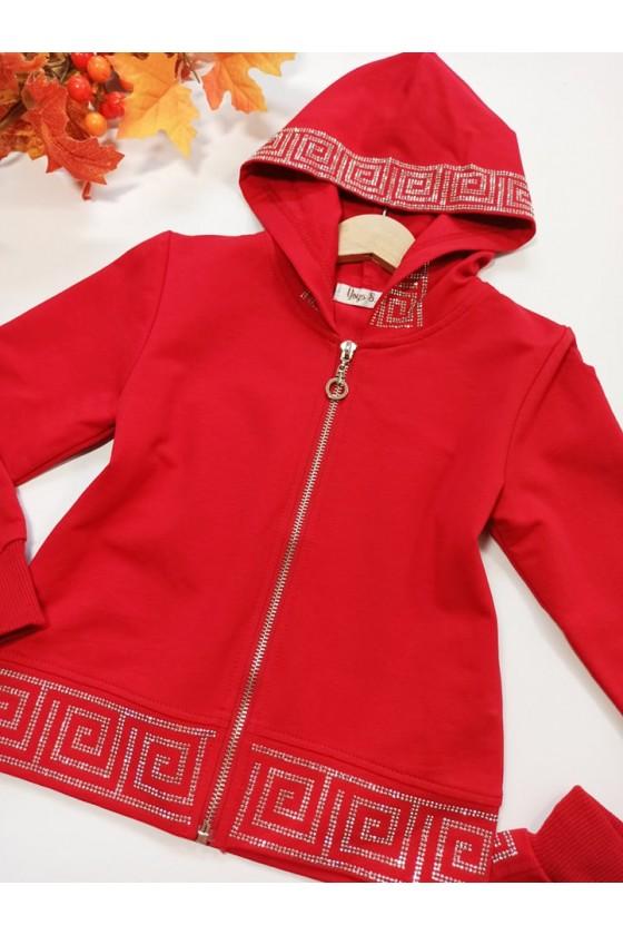 Komplet dla dziewczynki Delia bluza i spodnie cekiny Czerwony