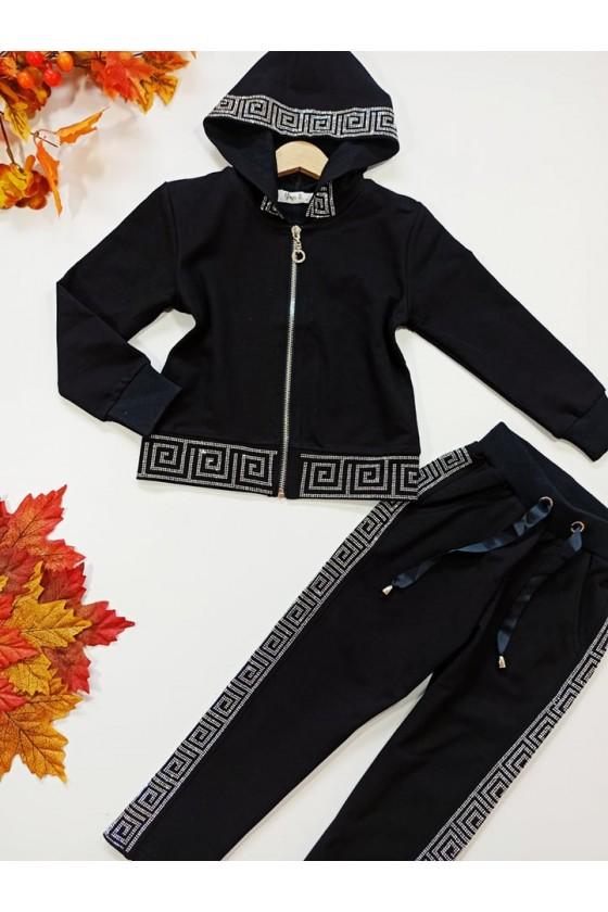 Komplet bawełniany dla dziewczynki bluza rozpinana na zamek  i spodnie dres jesień w Sówka