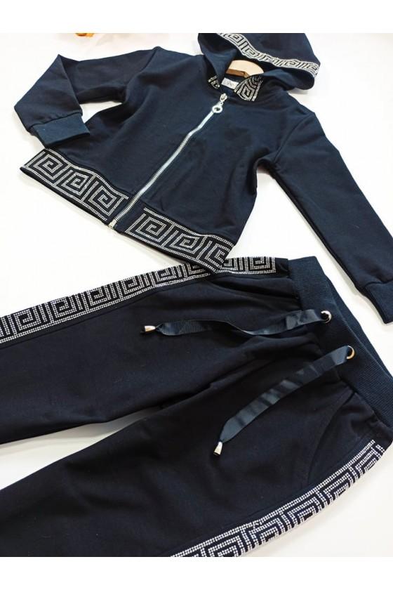 Komplet dla dziewczynki Delia bluza i spodnie cekiny Czarny