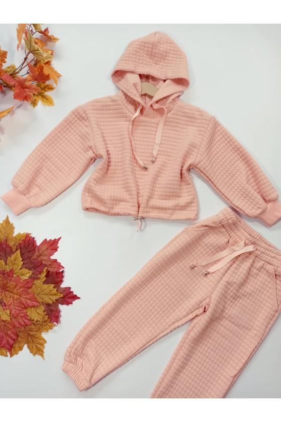 Komplet dla dziewczynki bluza  i spodnie dres pikowany  jesień w Sówka odzież dziecięca