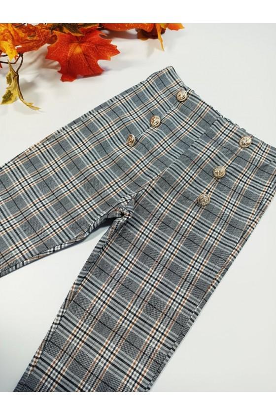 Spodnie cygaretki w szaro beżowa  kratka z dodatkiem lycry witaj szkoło odzież dziecięca sówka