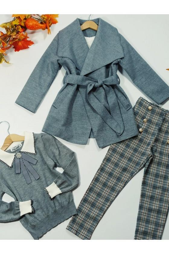 Spodnie dla dziewczynki Titi cygaretki z lycra szara kratka