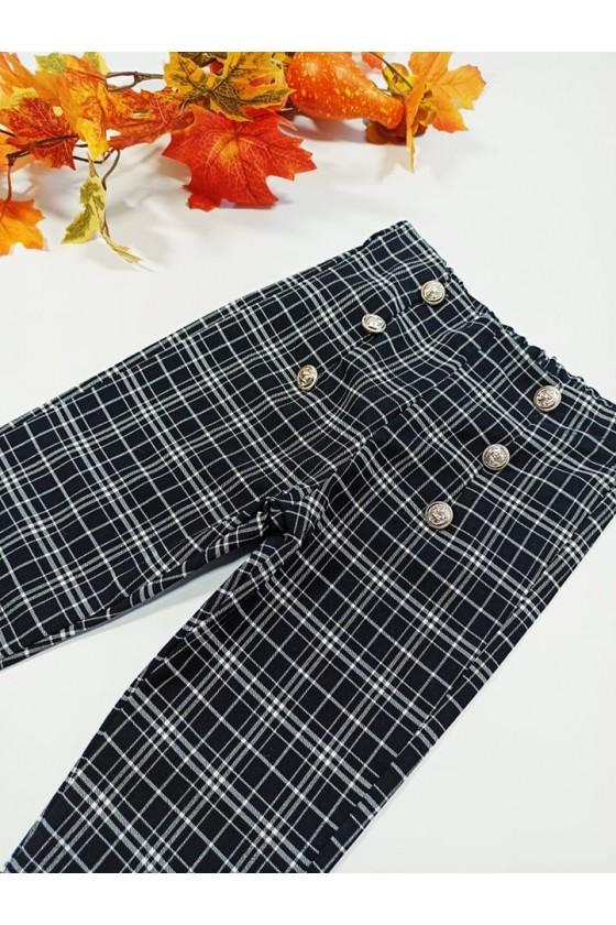Spodnie cygaretki w czarno biala kratka z dodatkiem lycry witaj szkoło jesień