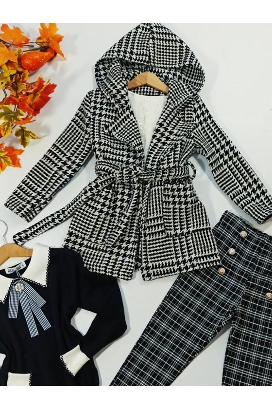 Spodnie dla dziewczynki Titi cygaretki z lycra czarno biała kratka