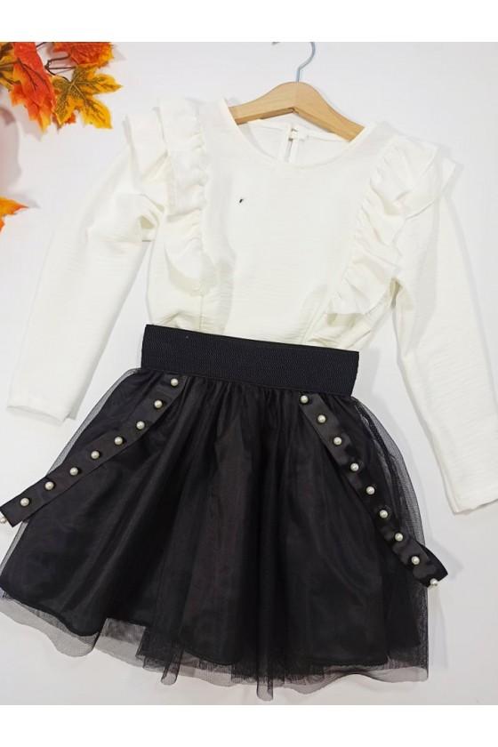 Spódniczka tiulowa czarna dla dziewczynki witaj szkoło galowa sówka odzież dziecięca