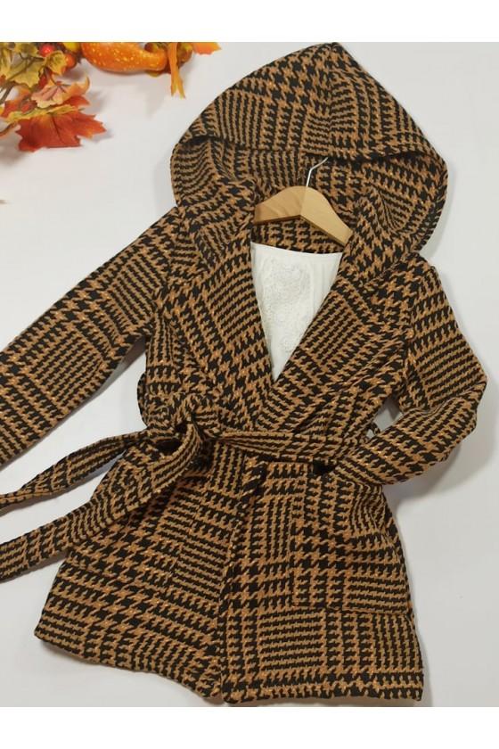 Płaszcz pepitka dla dziewczynki dzianinowy ciepły bawełna jesienny sówka odzież dziecięca