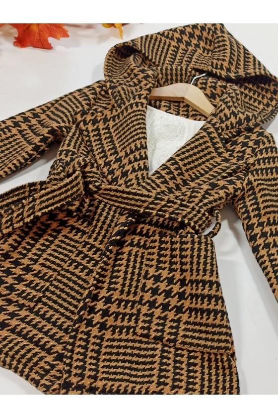 Płaszcz dla dziewczynki pepitka Zosia brązowy z delikatną złota nitką