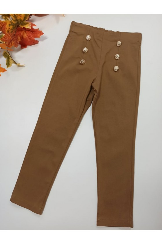 Spodnie cygaretki z lycra brązowe jesień sówka odzież dziecięca witaj szkoło