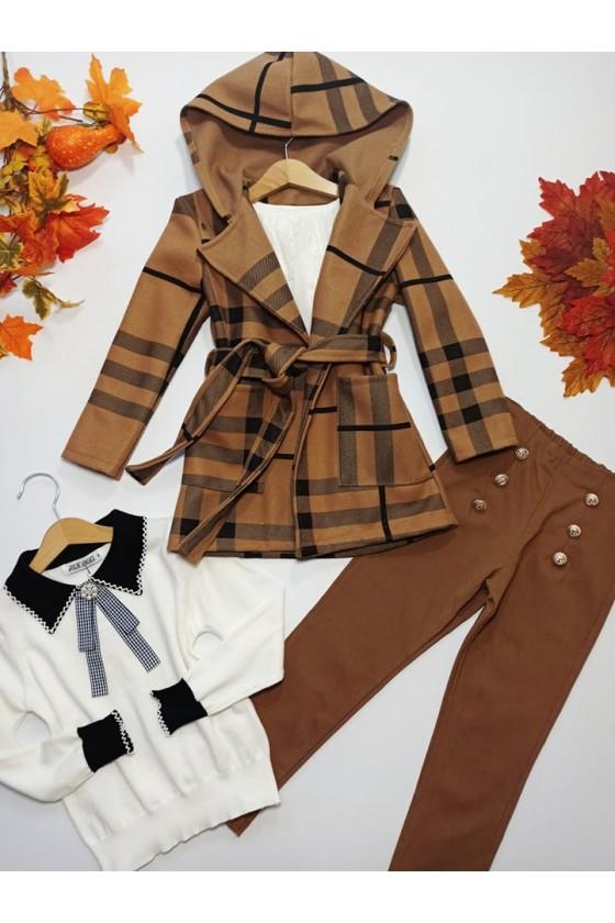 Spodnie dla dziewczynki Titi cygaretki z lycra brązowe
