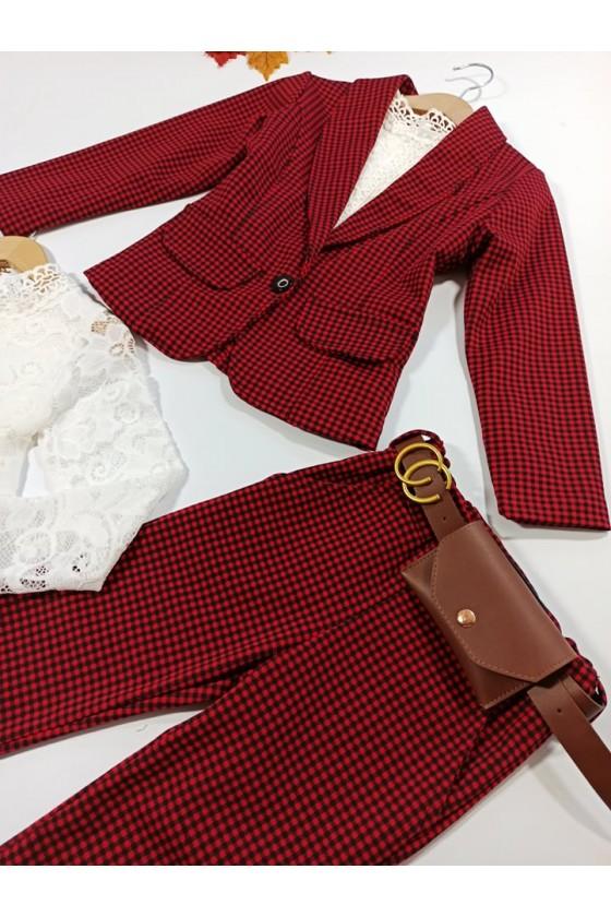 komplet żakiet spodnie  z saszetką czerwony pepitka rozpoczęcie roku  szkolnego jesień sówka odzież dziecięca
