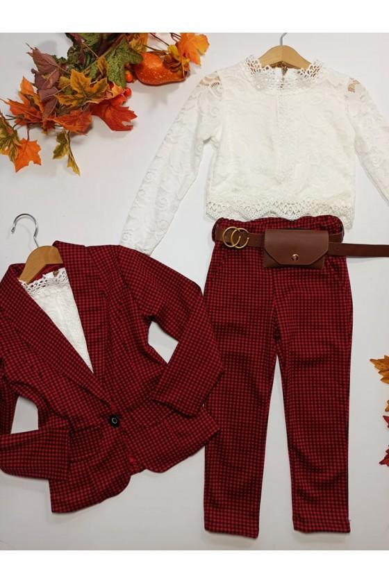 Komplet dla dziewczynki Pepi żakiet i spodnie z saszetką czerwony