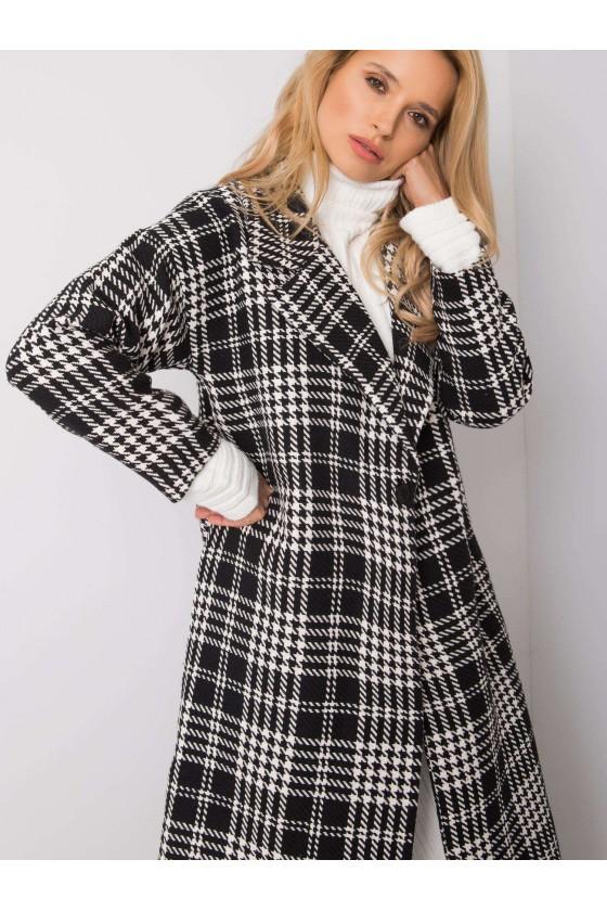Płaszcz damski w pepitkę czarno biały
