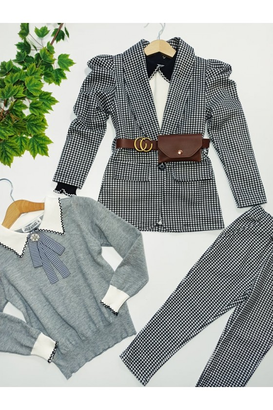 Komplet dla dziewczynki Paris żakiet z saszetką i spodnie czarno biała pepitka