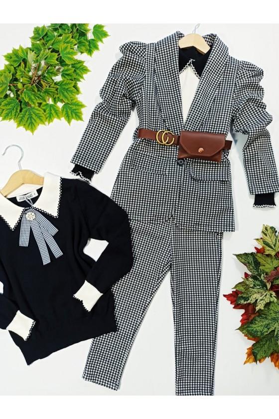 Komplet dla dziewczynki pepitka żakiet i spodnie witaj szkoło sówka  odzież dziecięca