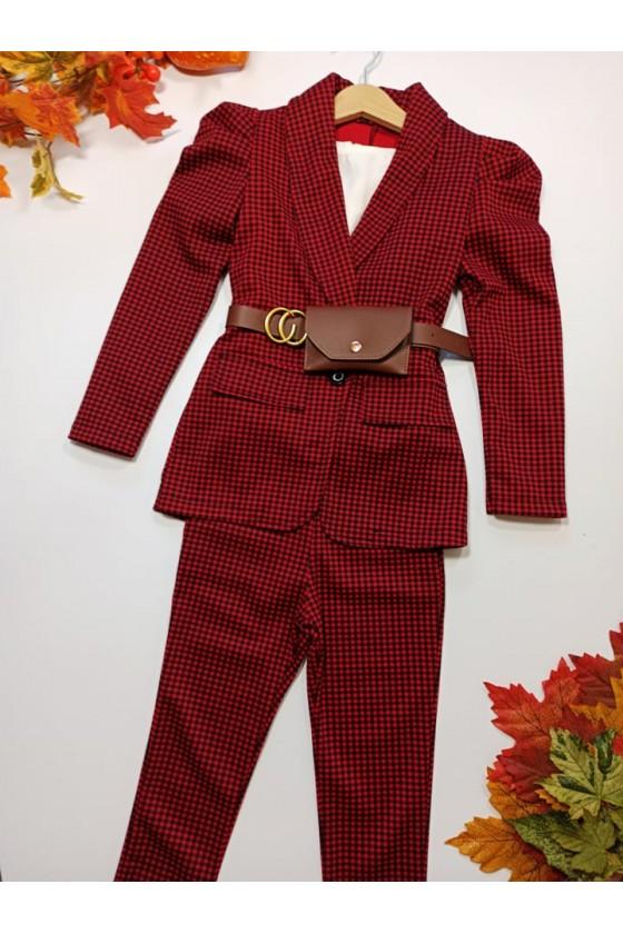 Komplet dla dziewczynki Paris żakiet z saszetką i spodnie czarno czerwona pepitka