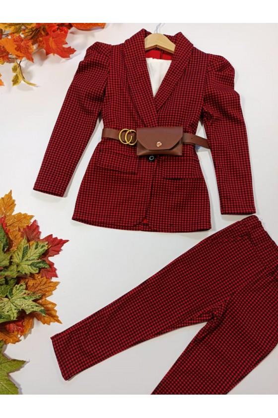 Komplet dla dziewczynki pepitka żakiet i spodnie