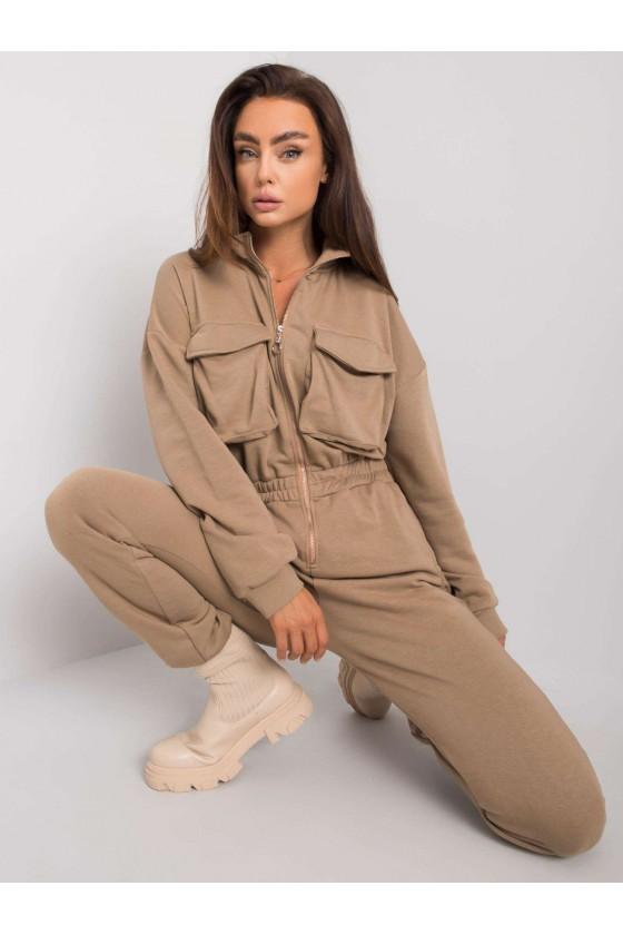 Damski dresowy kombinezon camel jesień sówka odzież damska
