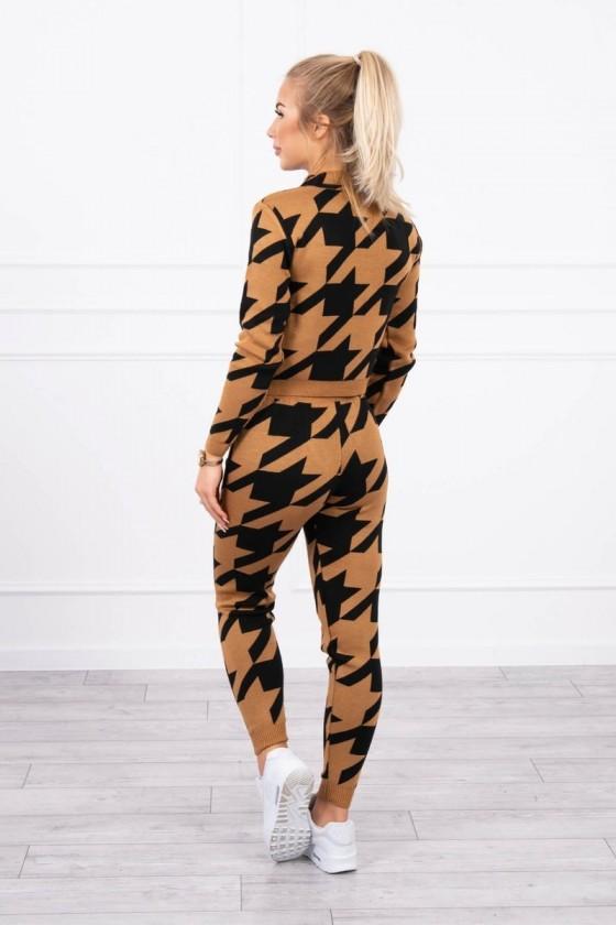 Komplet damski swetrowy w pepitkę brązowy