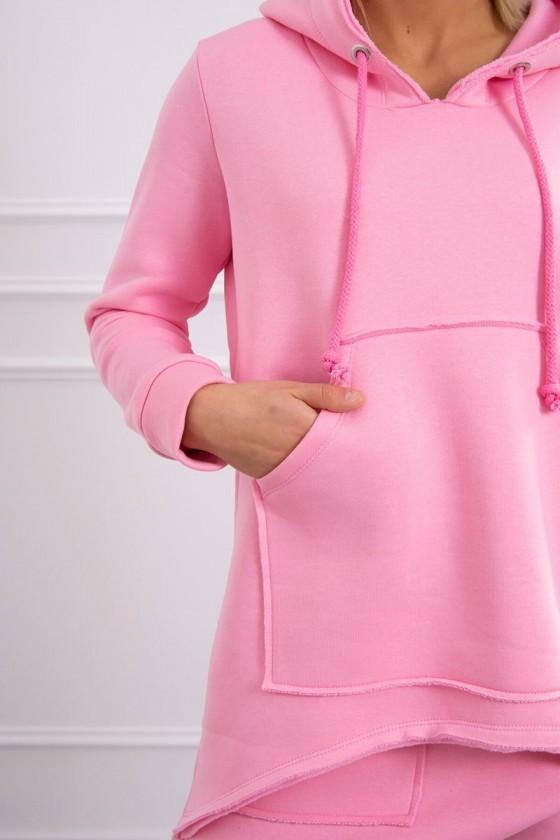 Komplet damski ze spodniami Baggy jasny różowy