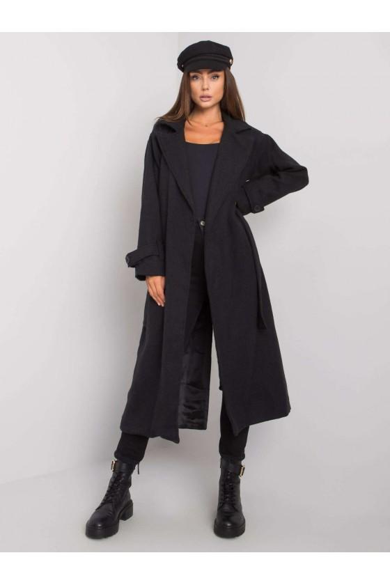 Płaszcz damski czarny jesien w sówka odzież damska