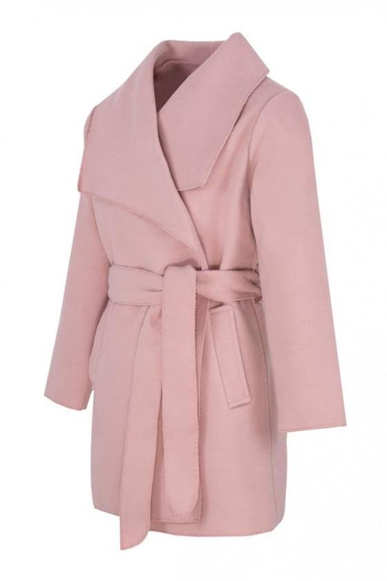 Płaszczyk dla dziewczynki Gabi filcowy różowy pudrowy