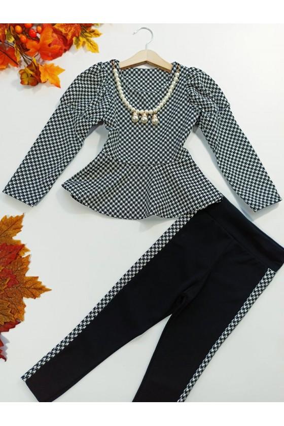 Komplet dla dziewczynki bluzka z naszyjnikiem i leginsy odzież dziecięca sówka jesień-zima