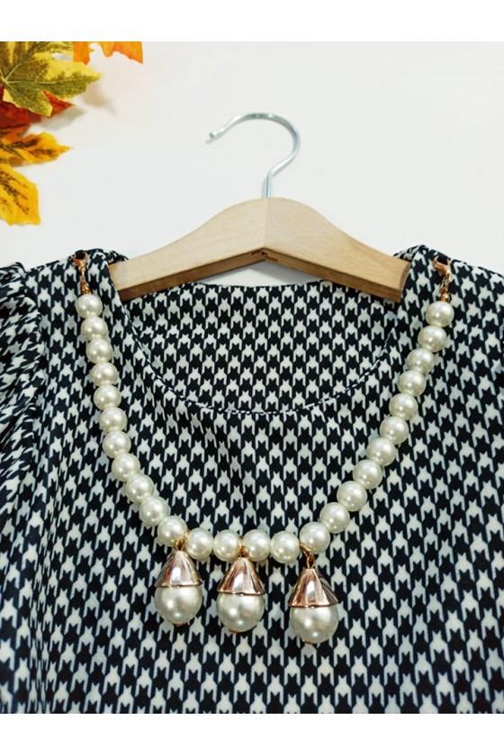 Komplet dla dziewczynki bluzka baskinka z naszyjnikiem i leginsy
