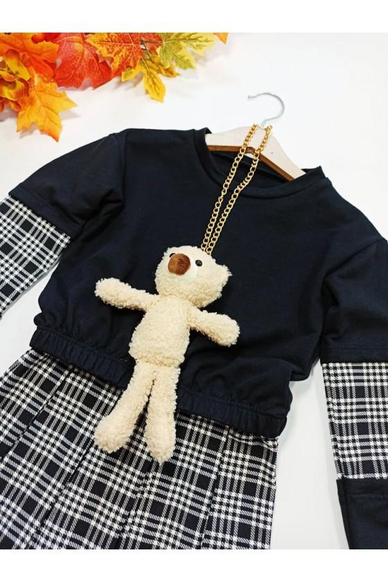 Komplet dla dziewczynki bluza z wisiorkiem misia i spódnica plisowana