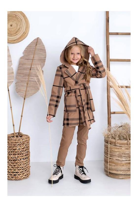 Płaszcz dla dziewczynki Agatka brązowy