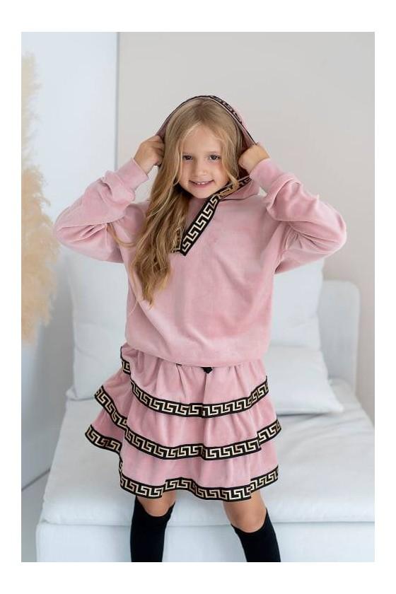 Komplet welurowy dla dziewczynki bluza i spódniczka odzież dziecięca