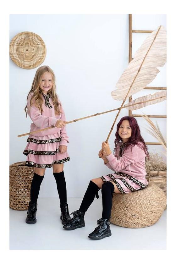 Komplet dla dziewczynki welurowy Hanna bluza i spódniczka puderek