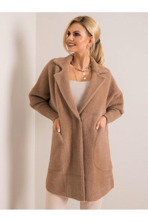 płaszcz damski alpaka beżowa jesień jesienny sówka