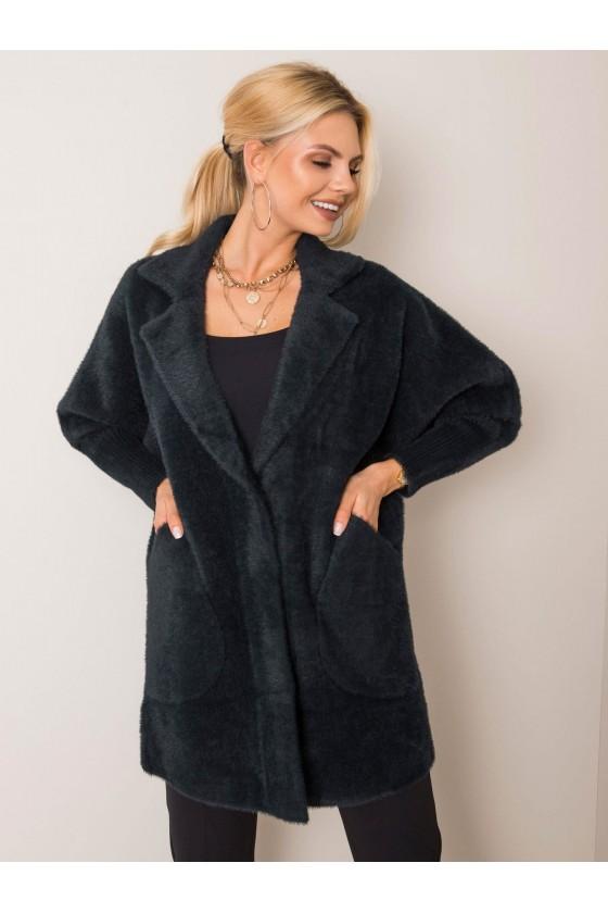płaszcz damski alpaka czarny jesień jesienny sówka odzież damska