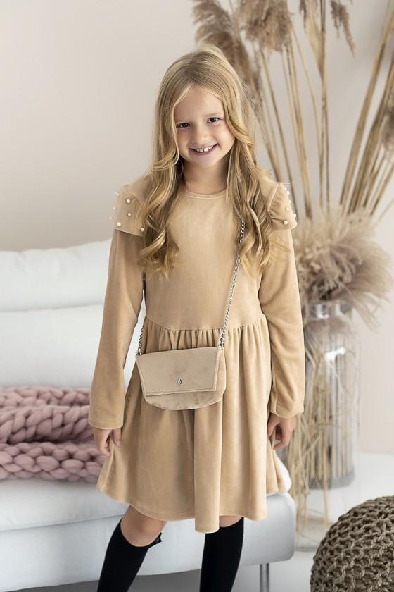 Sukienka dla dziewczynki welurowa Lili camel odzież dziecięca sówka