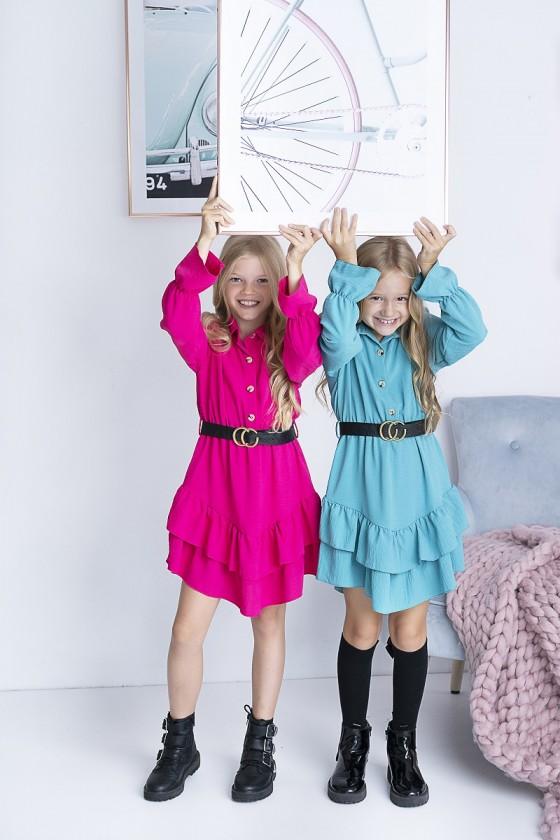 Sukienka dla dziewczynki falbanki kolekcja jesień zima odzież dziecięca sówka