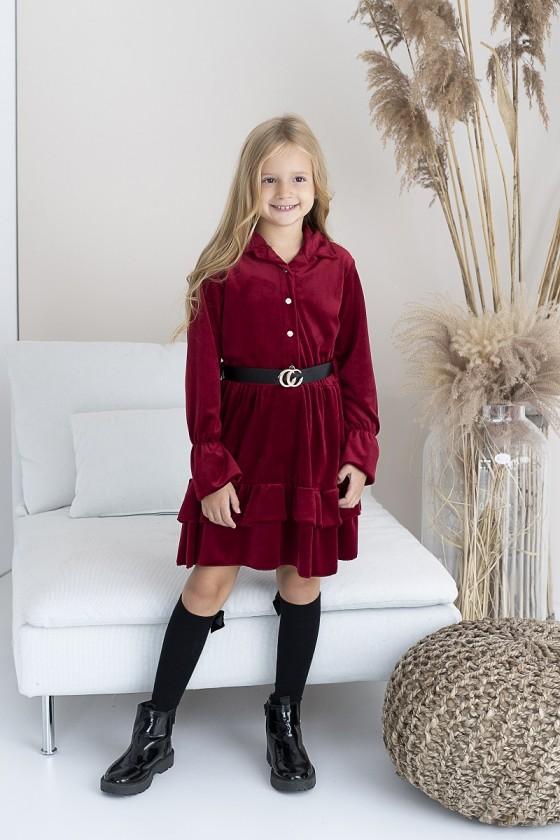 Sukienka dla dziewczynki welurowa Kiki bordo