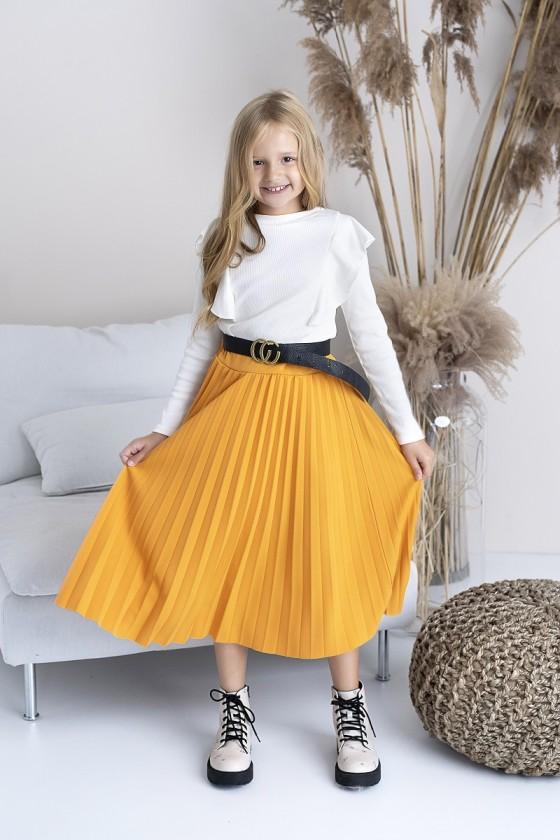 Spódniczka plisowana dla dziewczynki długość midi odzież dziecięca sówka