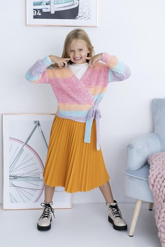 Spódnica dla dziewczynki Katia Midi plisowana z paskiem miodowa