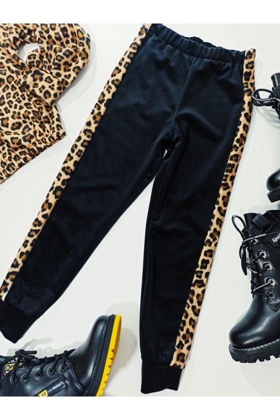 Komplet dla dziewczynki panterka welurowy Tiger bluza i spodnie czarne