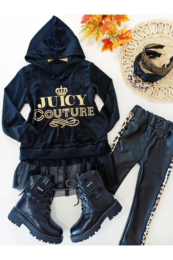 Sukienka tunika dla dziewczynki welurowa czarna