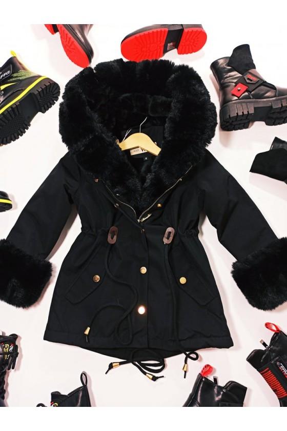 Kurtka parka dla dziewczynki zimowa ocieplana futrem odzież dziecięca Sówka