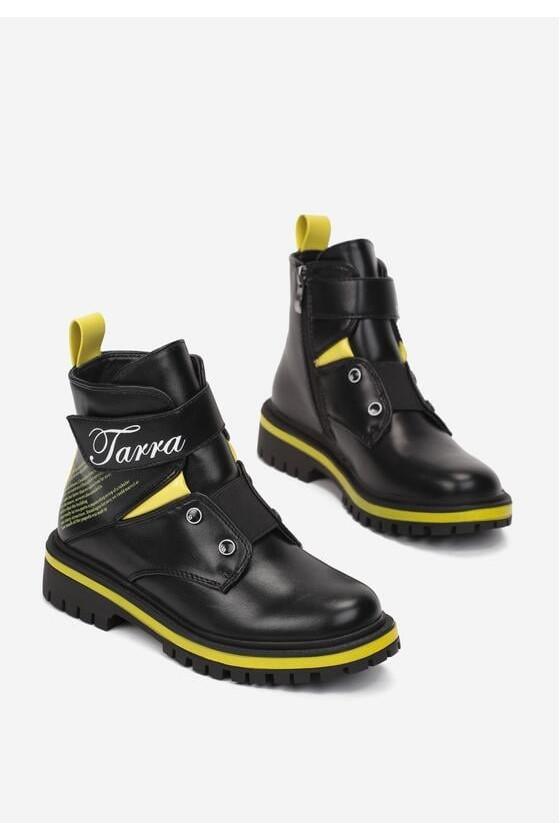 Botki dla dziewczynki czarno żółte Tarra