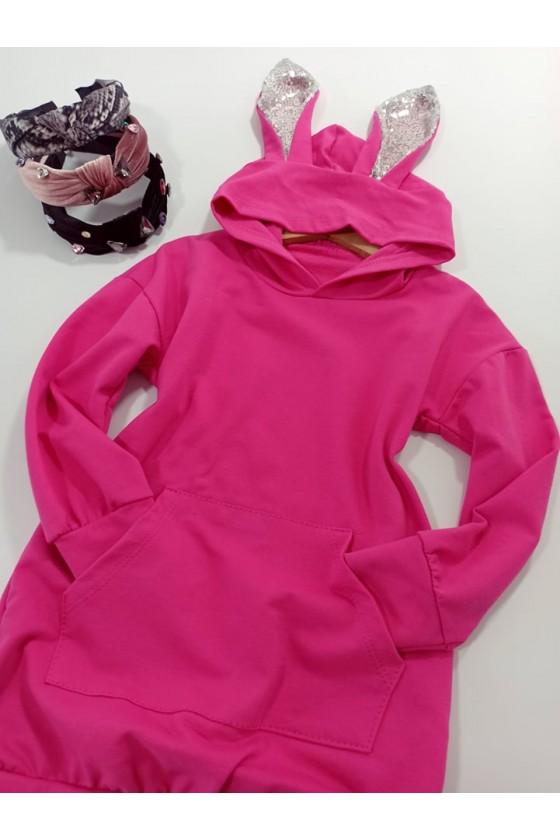 Długa bawełniana bluza dla dziewczynki uszy królika fuksja
