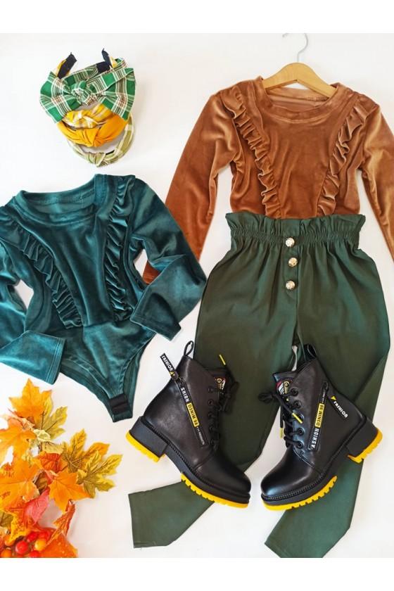 Spodnie dla dziewczynki Tola cygaretki z lycra khaki