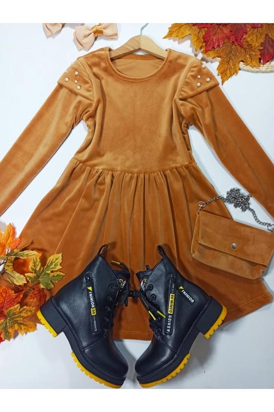 Sukienka dla dziewczynki welurowa jesień zima odzież dziecięca sówka