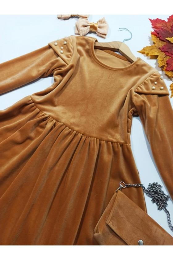 copy of Sukienka dla dziewczynki Lili camel